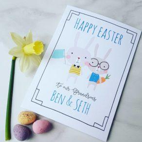 Personalised Bunnies Easter Card
