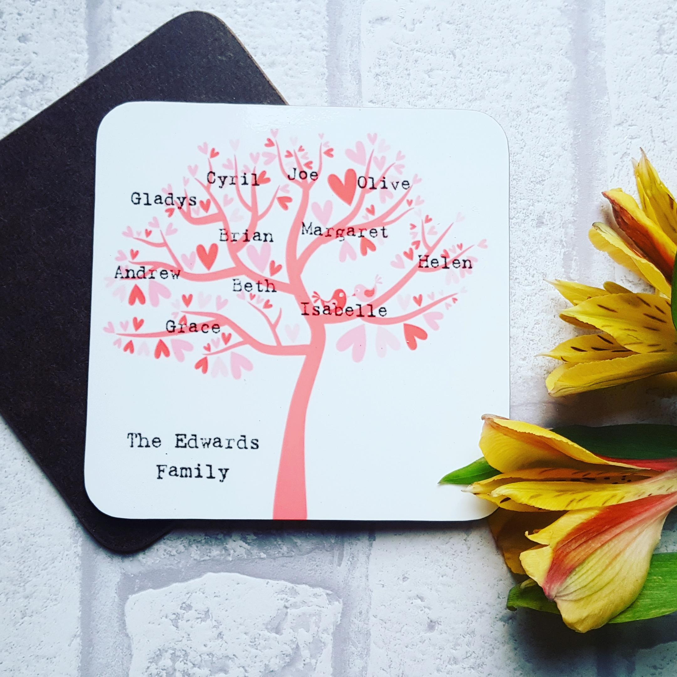 4 Family Tree Coasters