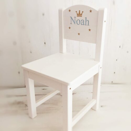 Personalised Unisex Wooden White Chair