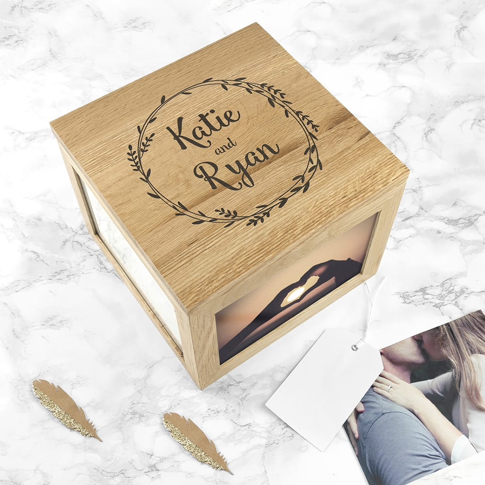 Couple's Oak Photo Keepsake Box With Wreath Design