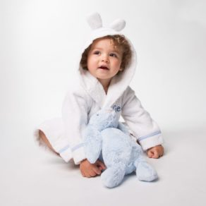 Personalised White Towelling Blue Gingham Trimmed Bathrobe