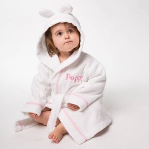 Personalised White Towelling Pink Gingham Trimmed Bathrobe