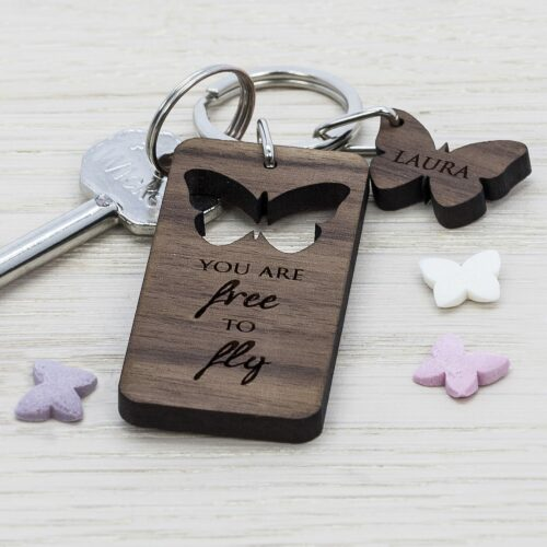 Butterfly Walnut Personalised Keyring