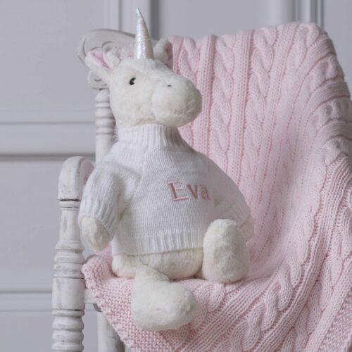 Personalised White Bashful Unicorn Soft Toy