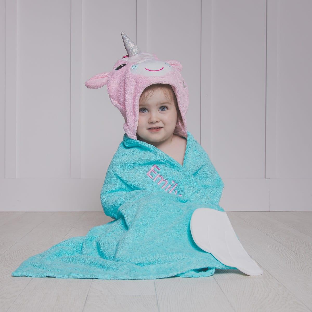 Personalised Zoocchini Aqua Allie the Unicorn Toddler Hooded Towel