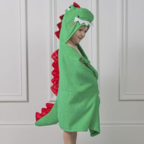 Personalised Zoocchini Green Devin The Dinosaur Toddler Hooded Towel