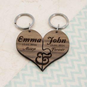 Always & Forever Couples Jigsaw Keyring