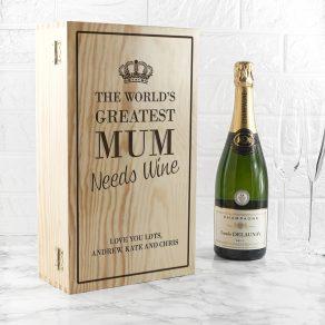 Personalised World's Greatest Mum Wine Box