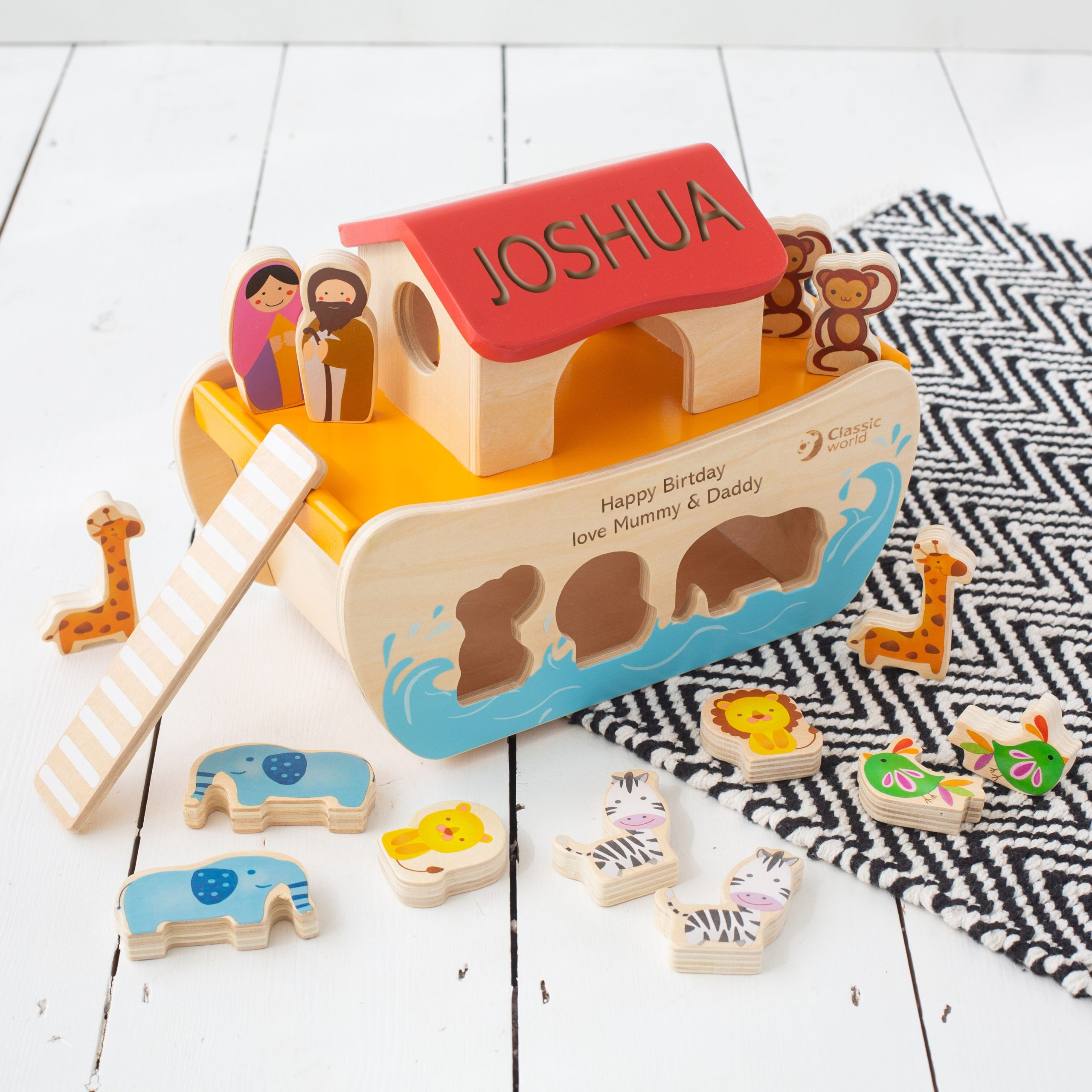 Personalised Noah's Ark Wooden Toy