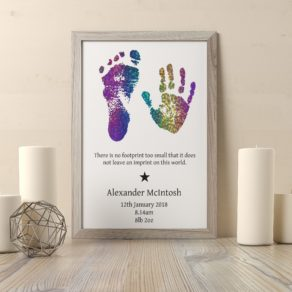 Personalised Foil Baby Hand and Footprint Print