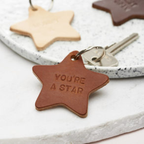 A Personalised Leather Star Keyring. A quirky little gift, these star keyrings are hand stamped with your personalisation and made using genuine leather.