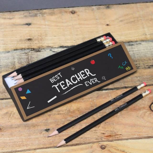 Best Teacher Chalkboard Black Personalised Pencil Box & Pencils