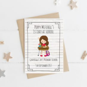 Personalised Girl First Day at School Card