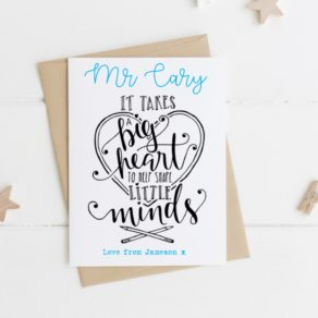 Personalised Big Heart Teacher card