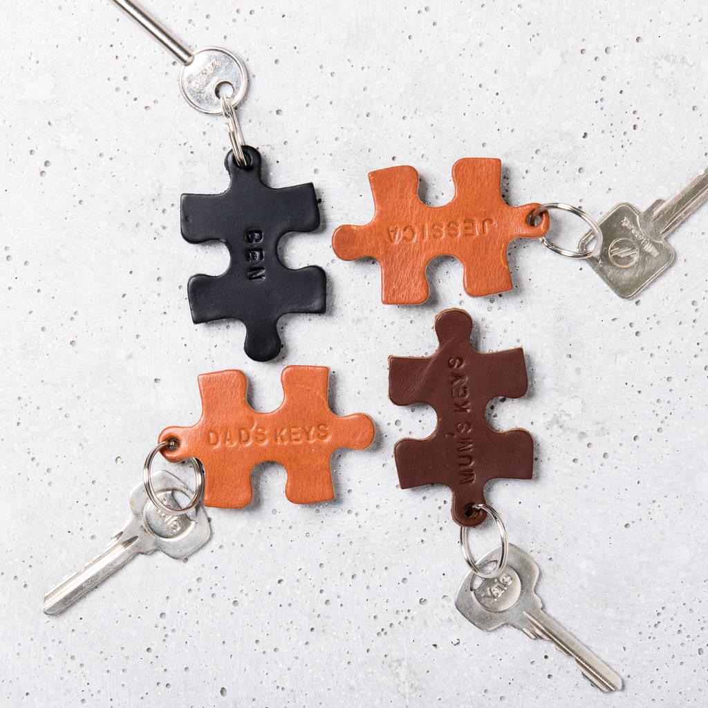 Personalised Leather Jigsaw Keyring