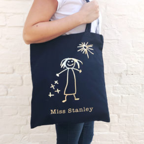 Teacher Tote Bag Personalised With Your Childs Drawing