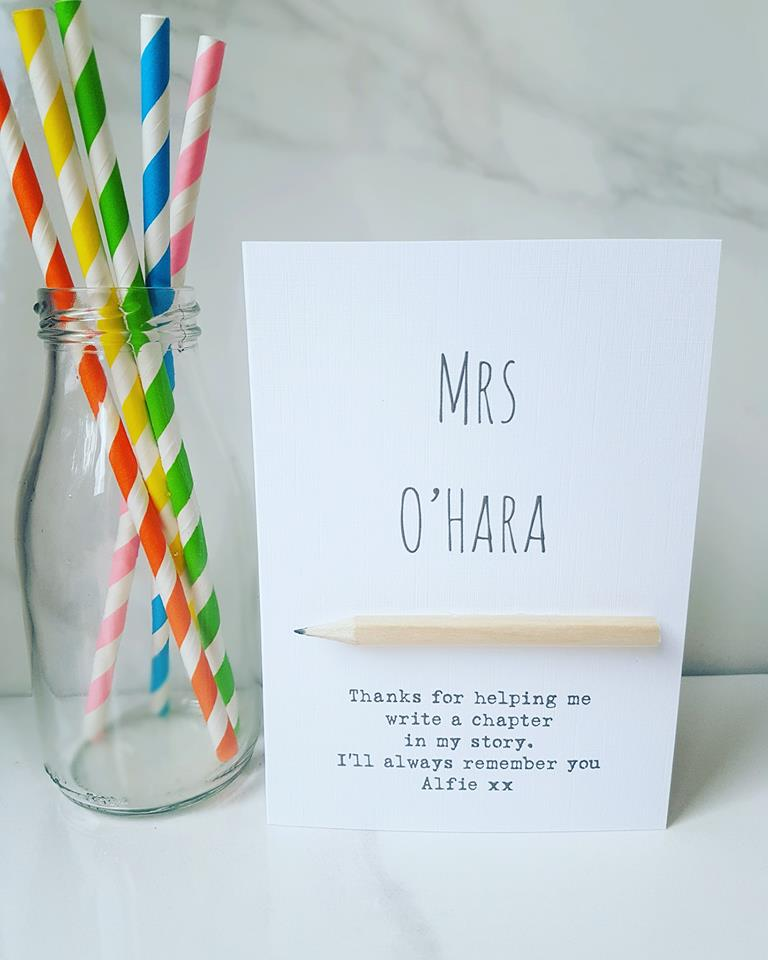 Personalised Teacher pencil card