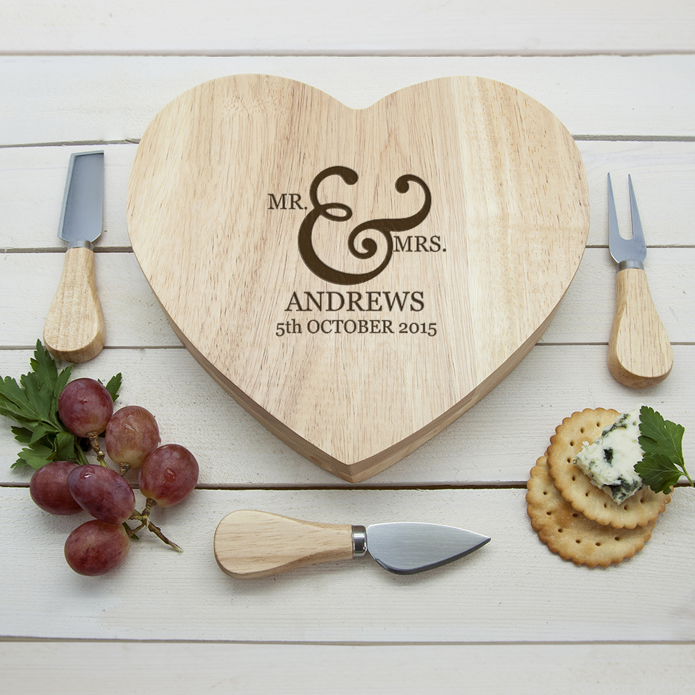Classic Couples' Romantic Heart Personalised Cheese Board