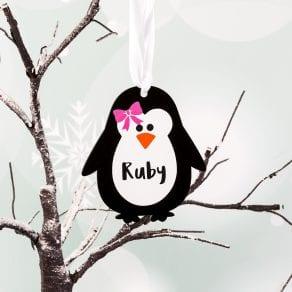 Personalised Penguin Christmas Decoration