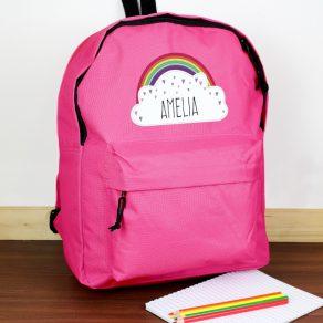 Personalised Rainbow Pink Backpack