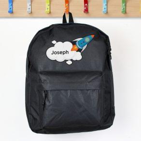 Personalised Rocket Black Backpack