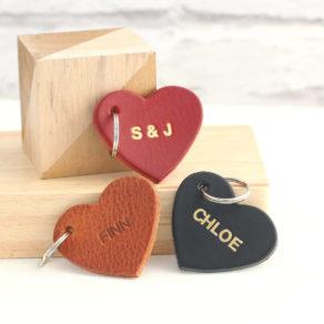 Personalised Embossed Leather Heart Keyring