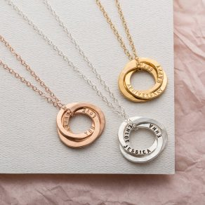 Personalised Satin Hammered Russian Ring Necklace