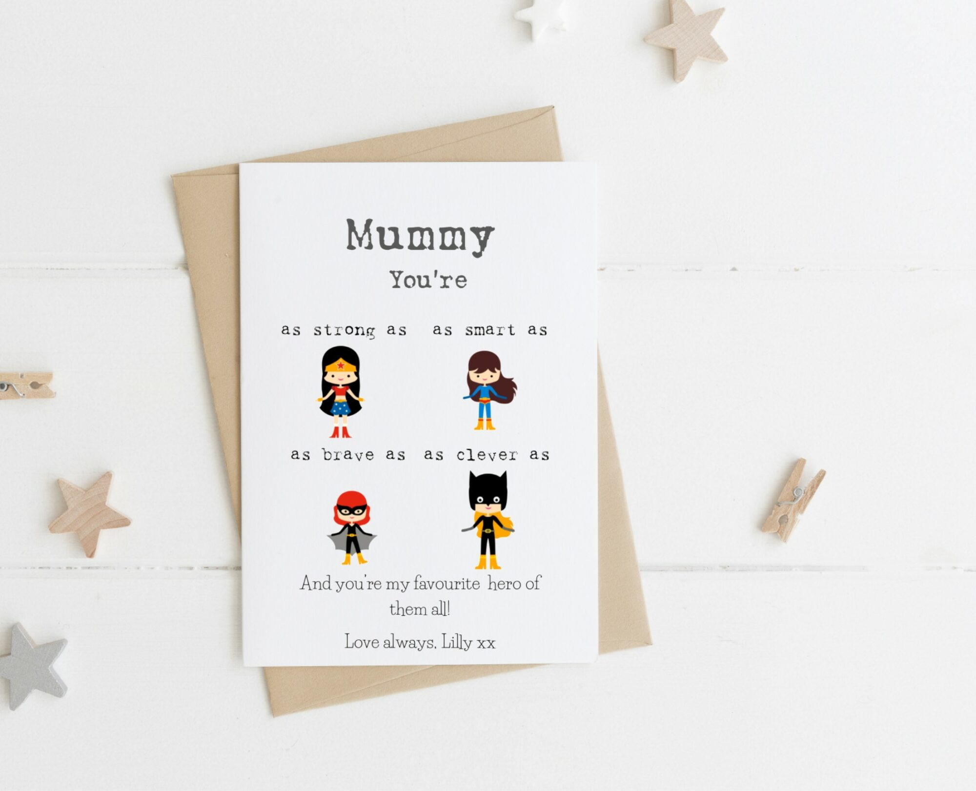 Personalised Favourite Hero Female Card