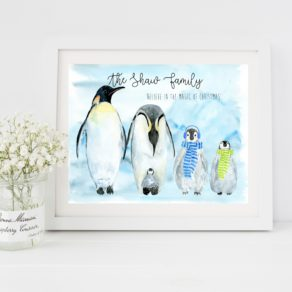 Christmas Penguin Personalised Family Print