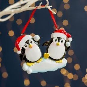 Personalised Penguin Couple Christmas Decoration