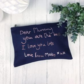 Personalised Rose Gold Handwriting Pouch