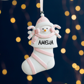 Personalised Baby's First Christmas Pink Stocking Decoration