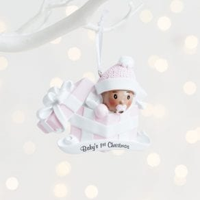 Personalised Baby's First Christmas Pink Tree Ornament Decoration