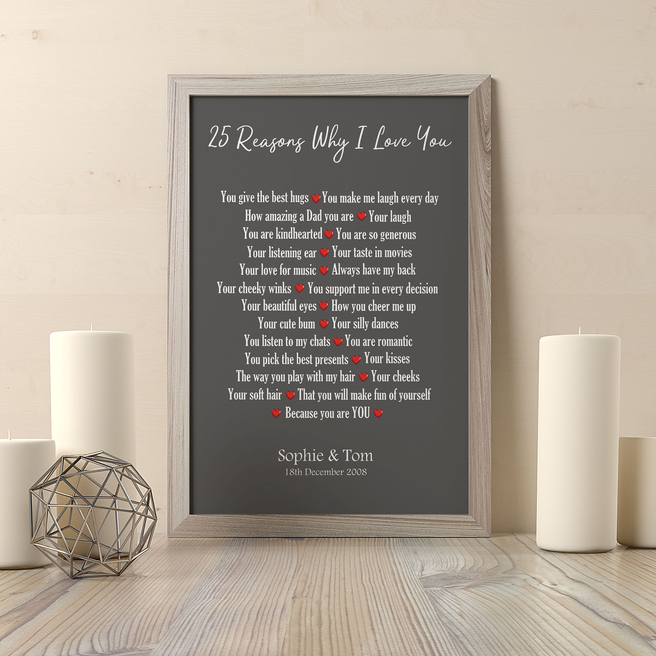 Personalised 25 Reasons Why I Love You Print