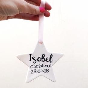 Ceramic Star Christening Keepsake