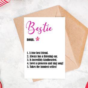 Bestie Definition Things I Love Card