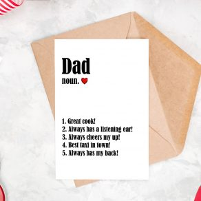 Dad Definition Things I Love Card