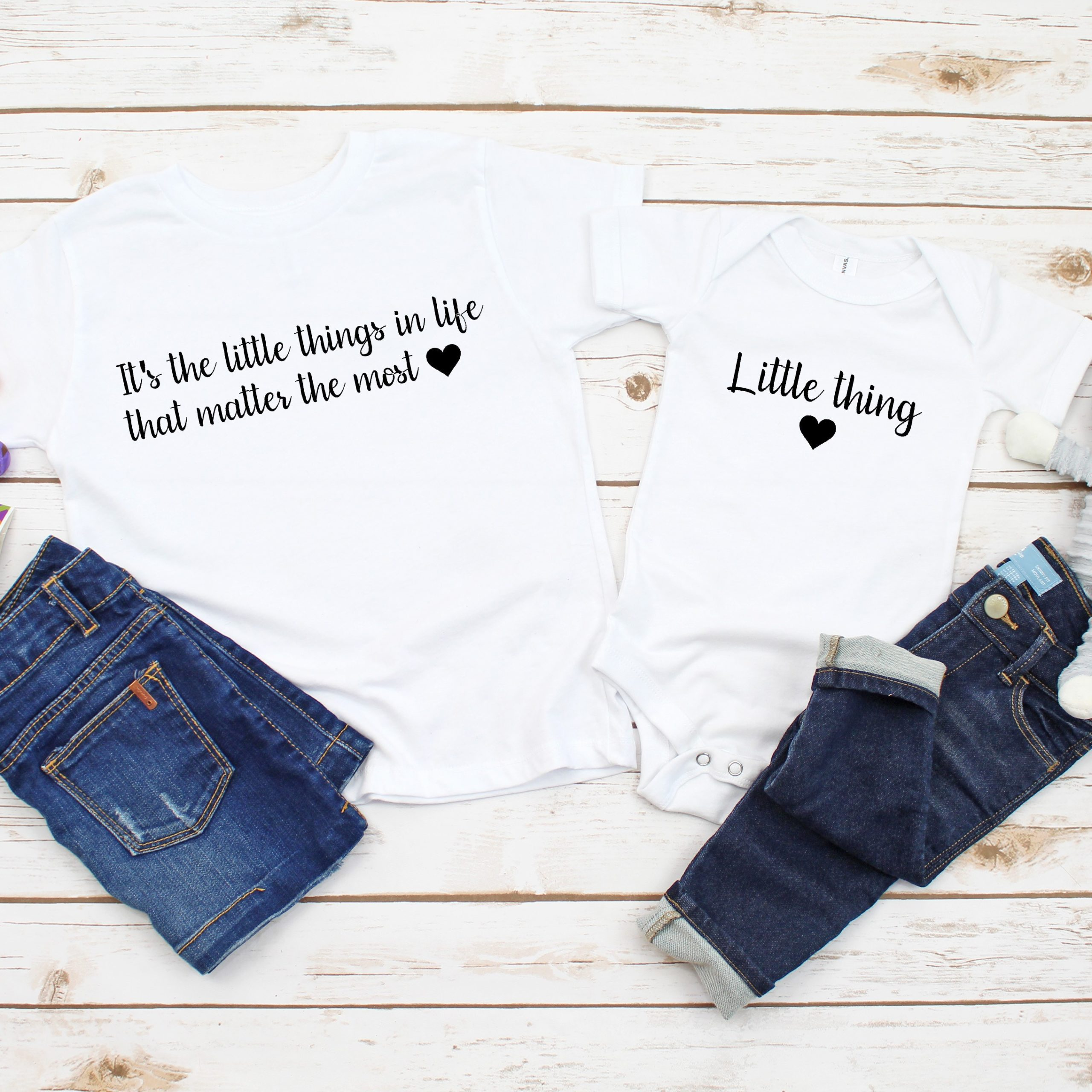 Matching 'Little Things' Personalised Familyt T-shirt or Baby Vest