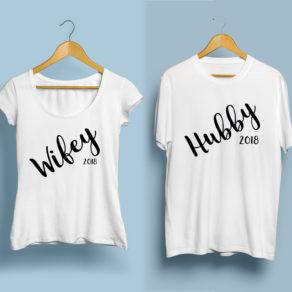 Personalised Husband and Wife Tshirt Set