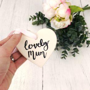 Lovely Mum Ceramic Heart Gift