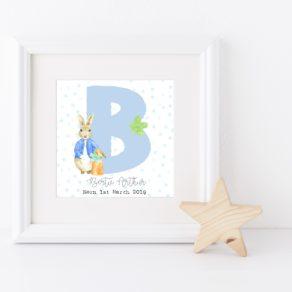 Personalised Boy Rabbit Initial Box Frame & Print