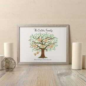 Personalised Family Tree Print Including Pets