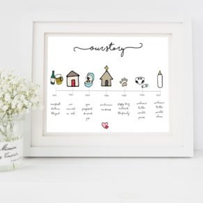 Personalised Love Story Doodle Print