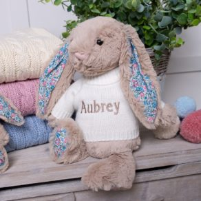 Beige Blossom Bunny Personalised Soft Toy