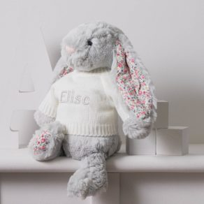 Grey Blossom Bunny Personalised Soft Toy