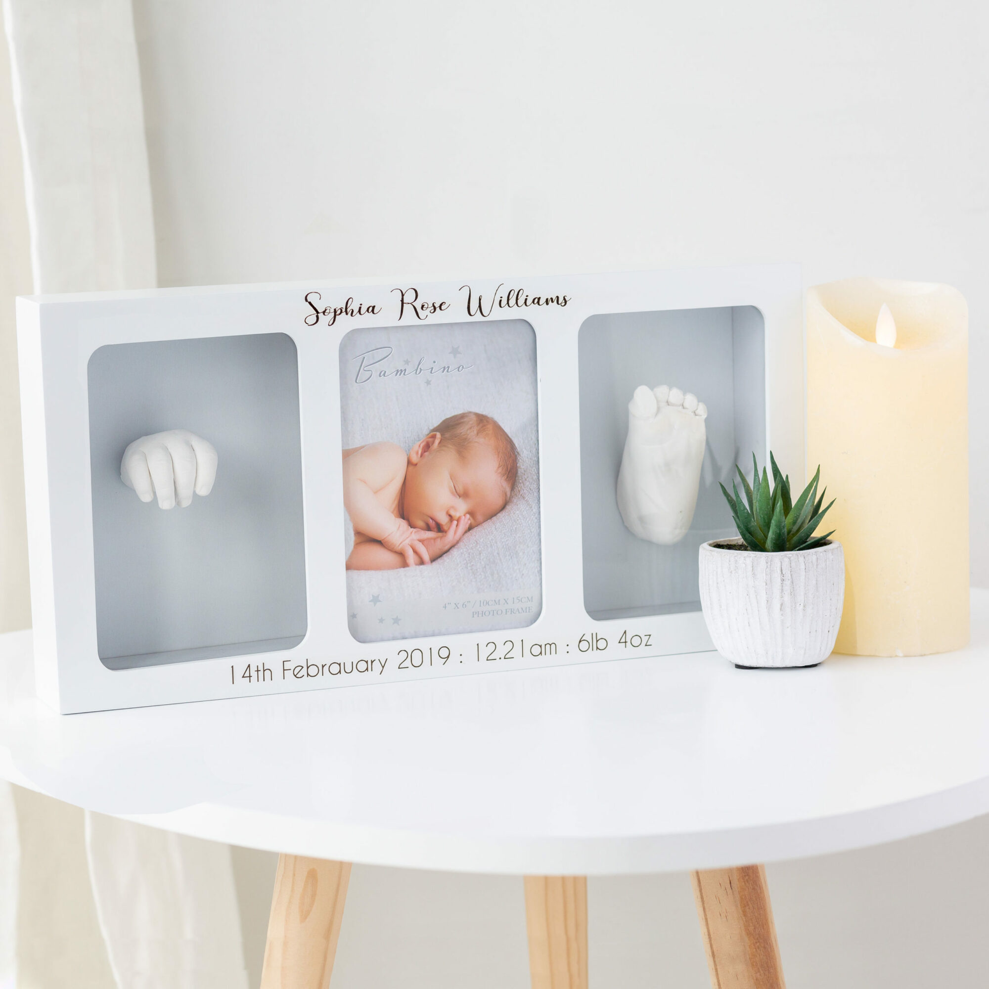 Personalised Triple Photo Frame & Clay Baby Print Casting Kit