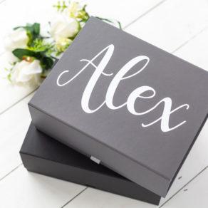 Grey Personalised Groomsmen Box
