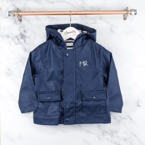 Personalised Baby and Toddler Navy Blue Raincoat