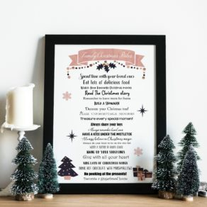 Personalised Christmas Family Rules Print