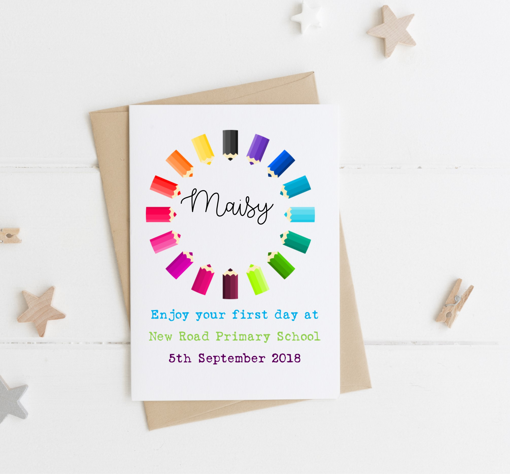 Personalised First Day At School Pencil Card